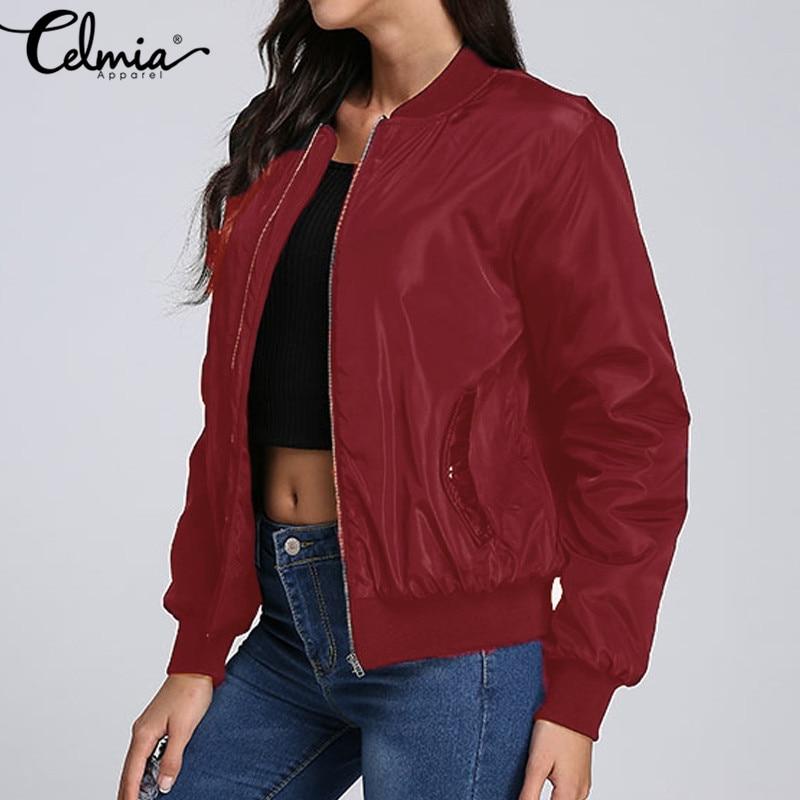 2020 Otoño Invierno Celmia chaqueta de bombardero para mujer señora Casual manga larga cremallera Biker moda femenina prendas de vestir abrigo de talla grande S 3XL