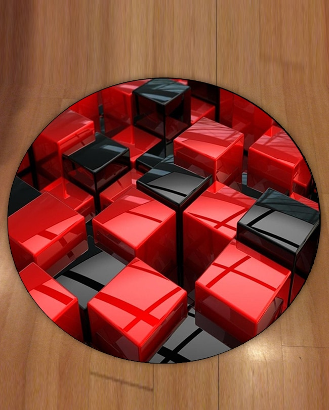 سجادة مربعة غير قابلة للانزلاق ، مربعات ، مكعبات تجريدية ، طباعة هندسية ثلاثية الأبعاد ، ظهر دائري ، لغرفة المعيشة ، الحمام ، أحمر ، أسود