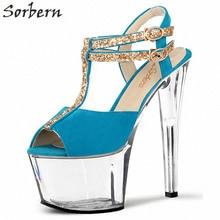 Sorbern 17Cm Trasnparent Heel Sandals Women Ankle Straps Comfortable High Heels Womans Sandal Platform Womens Shoes Size 42