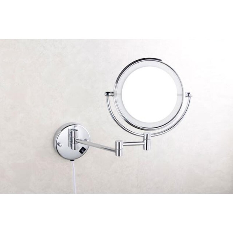 Bathroom LED Lighted Make Up Mirror, 8 Inch, Solid Brass, Drill & Drill-Free Install, 3x Magnify, Swivel Arm , Polished Chrome