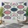 Revêtement de sol en 3D à fleurs géométriques rondes décoration murale bohème hippie tapisserie de paysage Art mural