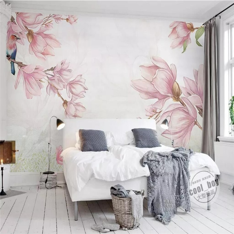 Fashion hand-painted magnolia elegant background wall professional production wallpaper mural poster photo background wall professional 10x20ft hand painted column arch scenic muslin photo backdrop background customized service size photos