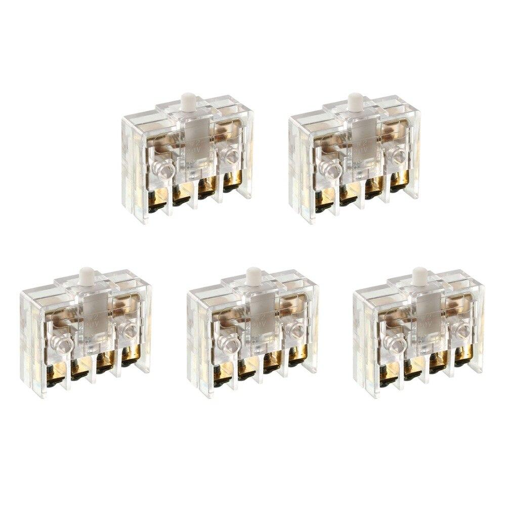 Interruptores DPST UXCELL 5 uds, 4 terminales de tornillo, accionador de botón Interruptor de Límite Micro para electrodomésticos, suministros de equipos eléctricos JW2-11