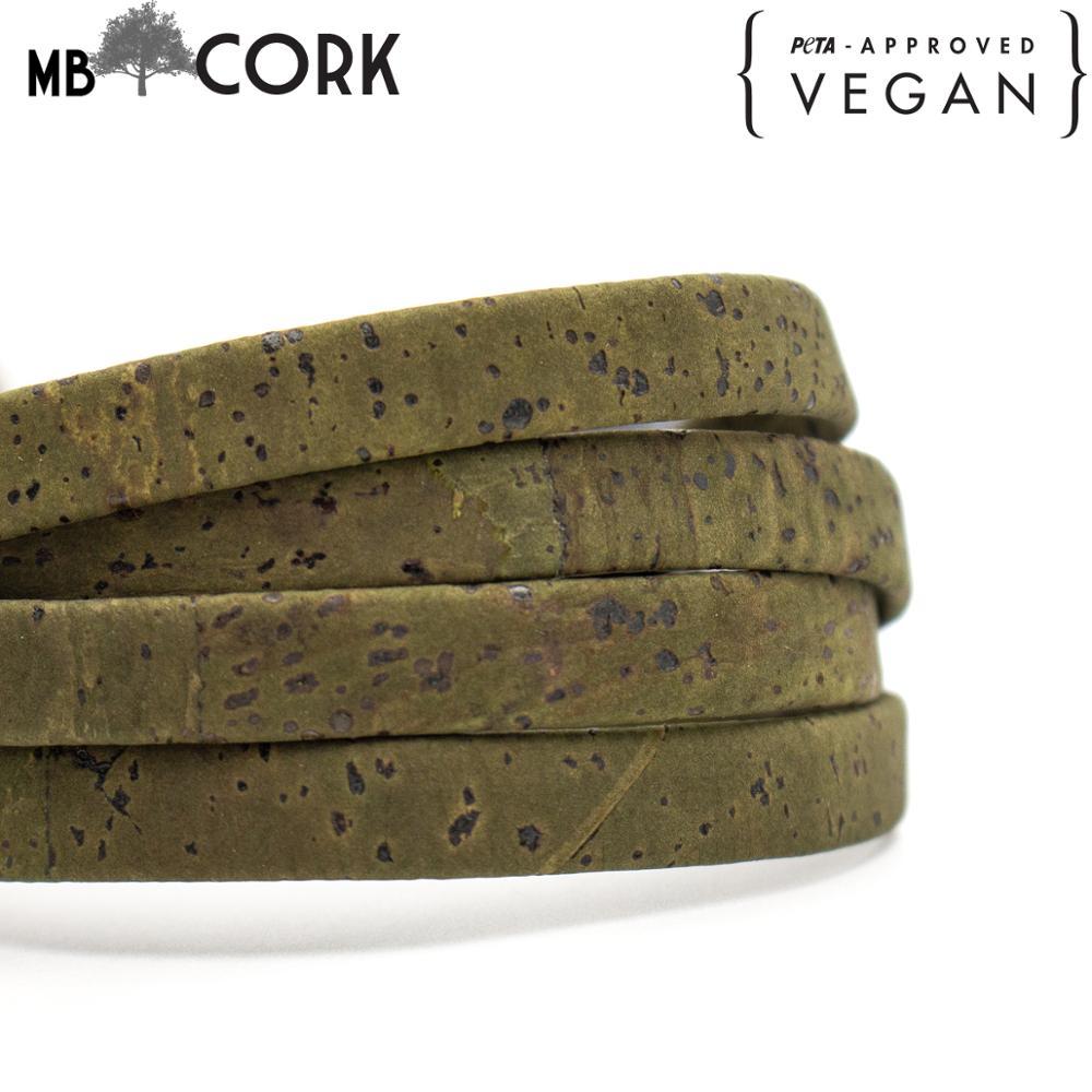 10 metros 10mm Cordón de corcho verde oscuro plano corcho portugués joyería suministros/hallazgos cordón vegan COR-350