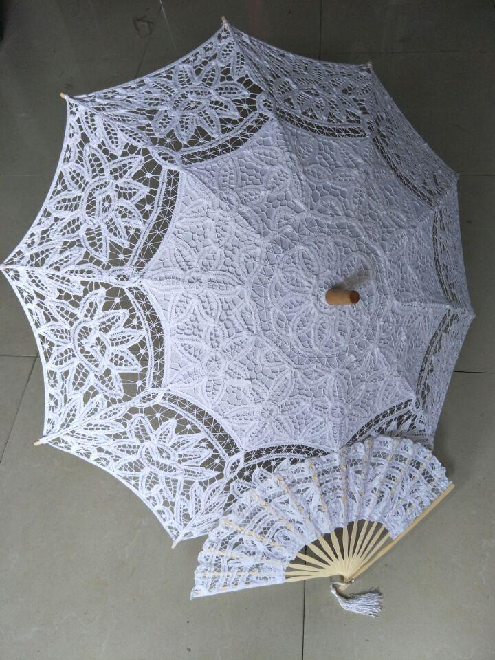8 ألوان التطريز العاج الدانتيل المظلات الزفاف Battenburg الدانتيل المظلة و مروحة مظلة واقية من الشمس مجموعة العروس الكبار حجم خمر cancan