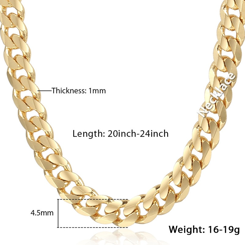 Trendsmax Men's Cuban Link Chain Necklace Gold Filled Chain Necklace Gift For Men Hiphop Wholesale Jewelry 4.5mm 50cm 60cm GN438