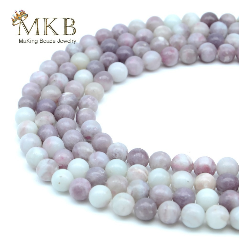 Perles Piedra Natural lilas Jaspers cuentas redondas para hacer joyería 4 6 8 10 12mm cuentas sueltas Diy pulsera collar al por mayor