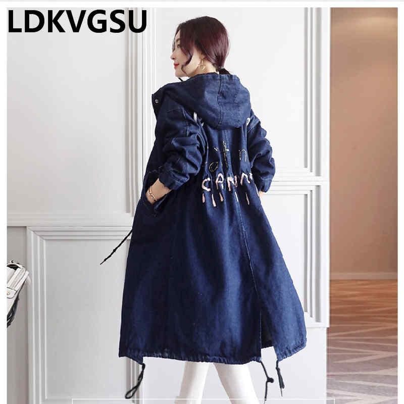 2020 Spring Autumn Women Hooded Denim Trench Coat New Korean Buttons zippers Casual Loose Coat Female Long Denim Coat Is112