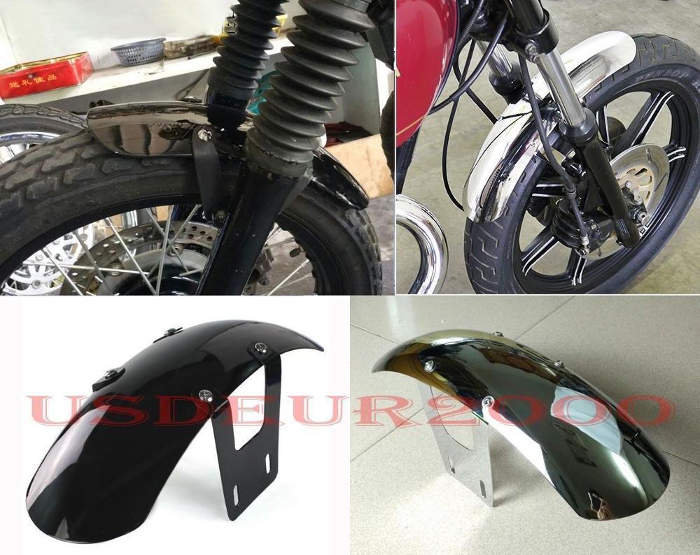 Guardabarros delantero Bobbed corto de acero metálico para Yamaha SR400 SR500 XS650 40cm negro/cromo