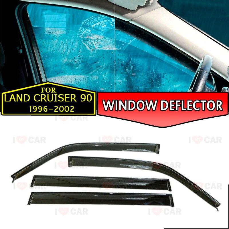 Déflecteur de fenêtre pour Toyota Land Cruiser 90 1996-2002 voiture fenêtre déflecteur vent garde vent soleil pluie visière couverture voiture style