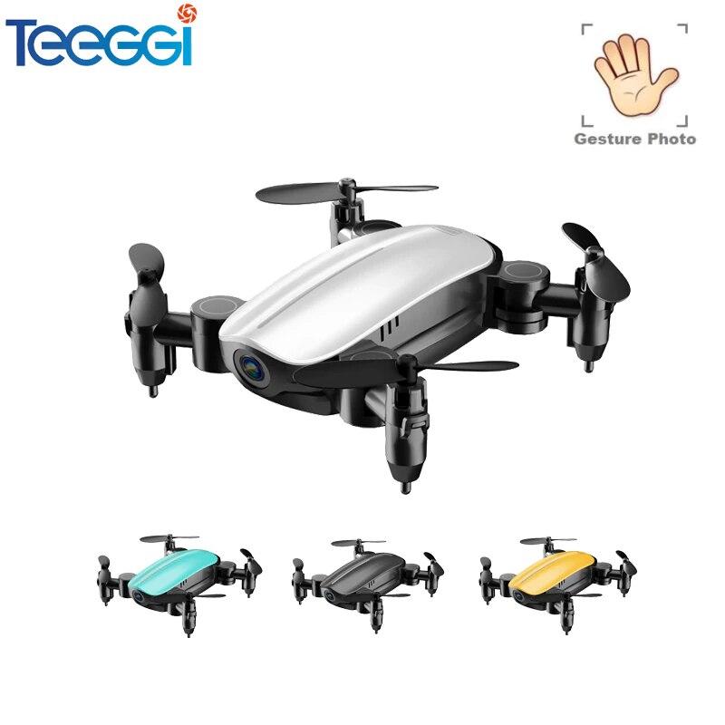 Teeggi T10 Mini Drone con/sin cámara HD plegable RC Quadcopter helicóptero que mantiene la altura WiFi FPV Micro bolsillo Selfie RC