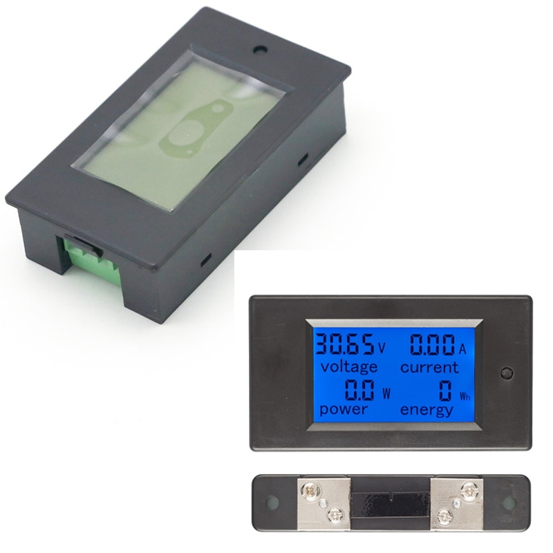 20 piezas DC 6,5-100v 50A LCD medidor combinado voltaje corriente KWh Watt Panel Metro 12v 24v 48v batería de monitoreo con derivación 50A