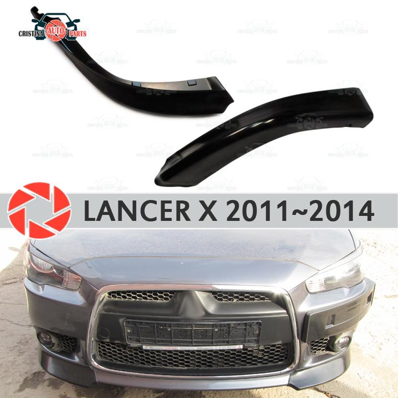 Inserto de colmillos para Mitsubishi Lancer X 2011-2014 en parachoques delantero ABS kit de cuerpo de plástico moldeado decoración de coche estilo tuning