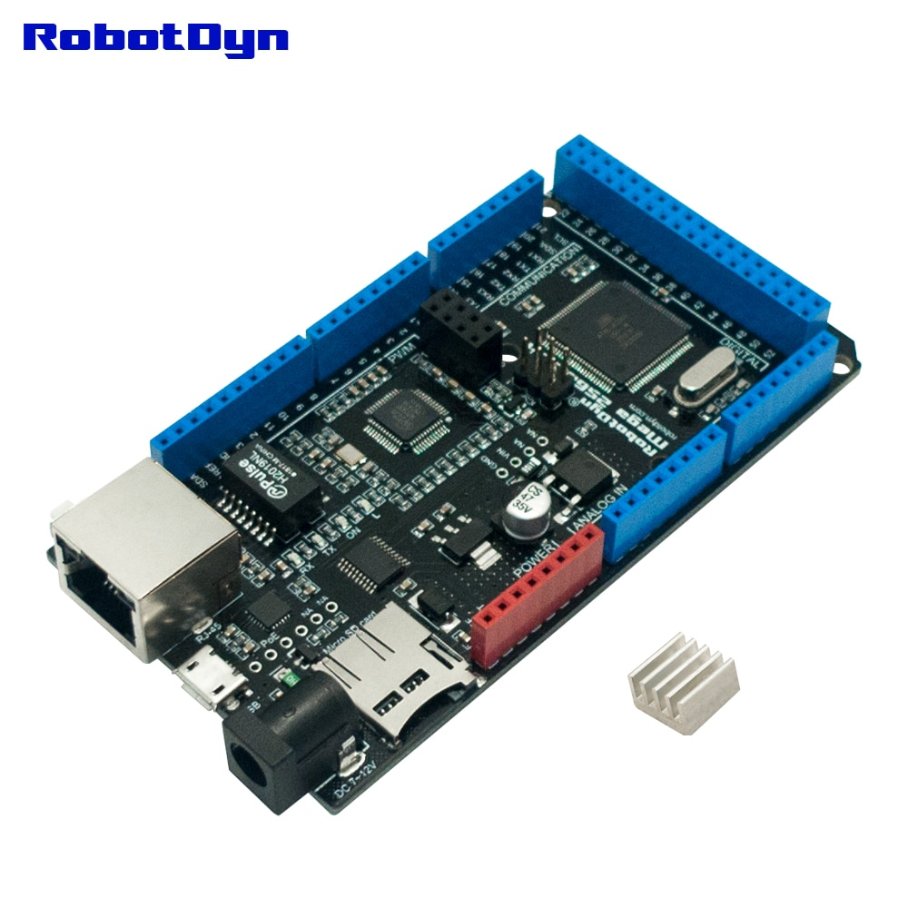 FREE SHIPPING MEGA 2560 ETH R3 with ATmega2560 and Ethernet W5500, Micro-SD, USB-UART CP2104, socket for Wi-Fi ESP-01