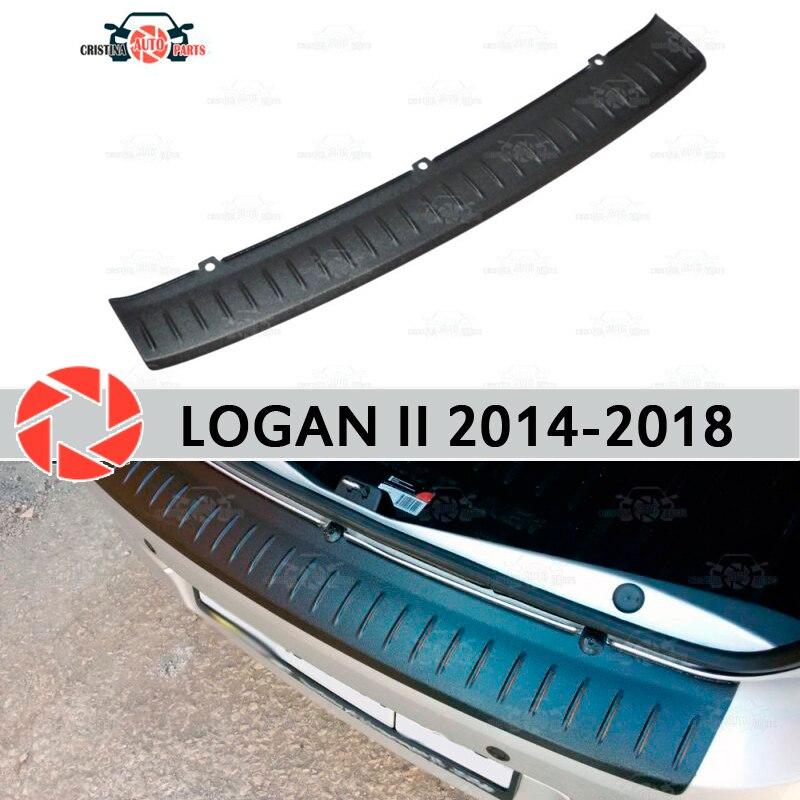 Para Renault Logan II 2014-2018 Placa de protección en parachoques trasero alféizar decoración de estilo de coche desgaste panel accesorios moldura