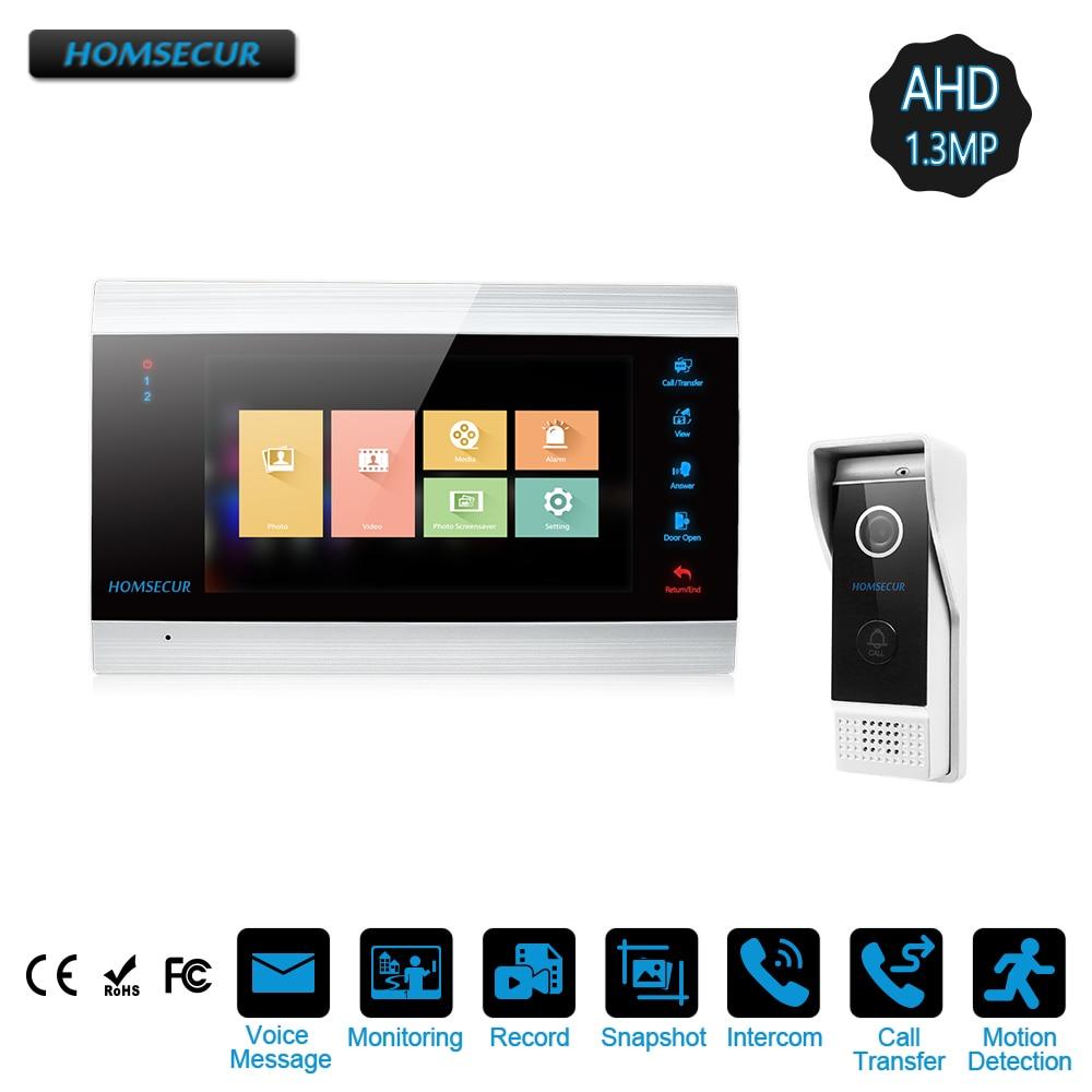 """HOMSECUR 7 """"cableado AHD1.3MP vídeo puerta teléfono sistema de intercomunicación con un botón de desbloqueo, grabación y instantánea (BM705HD-B + BC031HD-B)"""