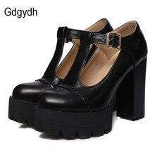 Gdgydh mode femmes pompes bout rond t-starp boucle femme chaussures simples talons épais plate-forme femmes chaussures russe grande taille 43