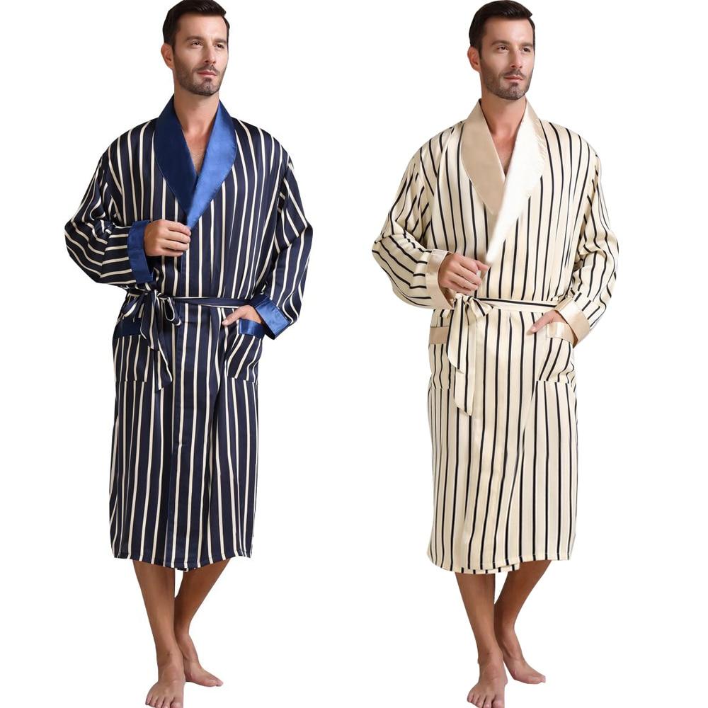 رجالي الحرير الحرير منامة بيجامة البيجامة النوم رداء الجلباب ثوب النوم تنحيف U.S.S M L XL 2XL 3XL زائد مخطط _ هدايا