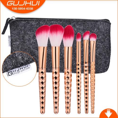 GUJHUI Professional 6pcs Honeycomb Makeup Brush Foundation Eye Shadow Makeup Brush Cosmetics Soft Synthetic Hair PU Leather Case