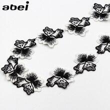 Bandeau en dentelle brodée blanche noire   4.5cm, 2yards/lot, bande ruban, fait à la main, tissu Hometexille, bricolage