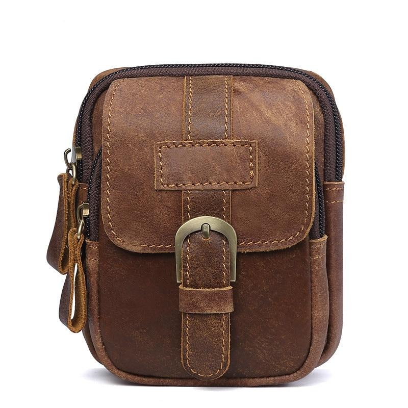 Man Genuine Leather Outdoors Leisure Male Clothes Belt Pocket Waist Bags Mini Hip Bag Men Fanny Pack For Women Purse