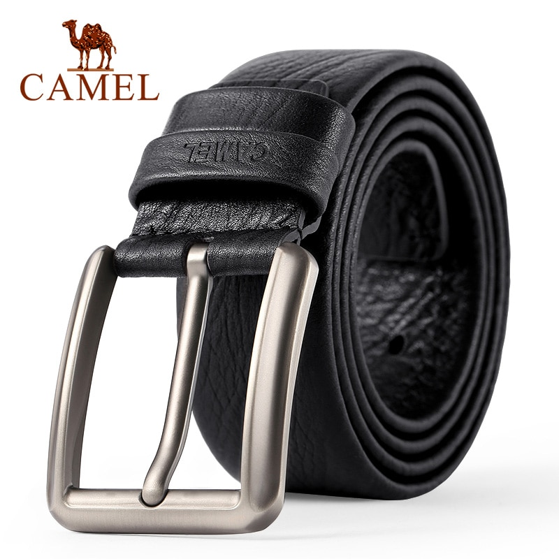 CAMEL Men's Belt fashion Genuine Leather Business Wild Casual Pin Buckle Belt Cross Buttonhole Design Flexible Top Layer Cowhide
