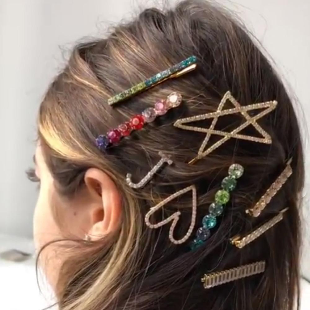 Horquilla StoneFans de diamantes de imitación para el pelo de boda para niñas, broche de corazón, Accesorios para el cabello de cristal de lujo, horquilla de estrella para novia para mujer