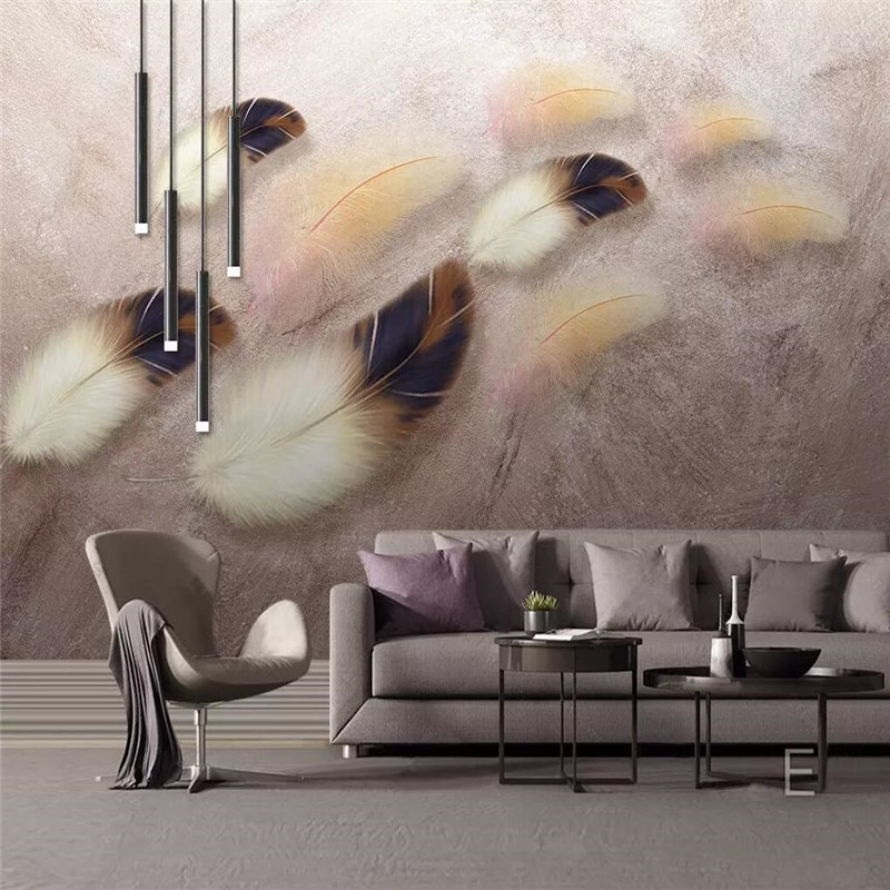 Custom 3d wallpaper simple fashion color feather texture art background wall - high-grade waterproof material недорого