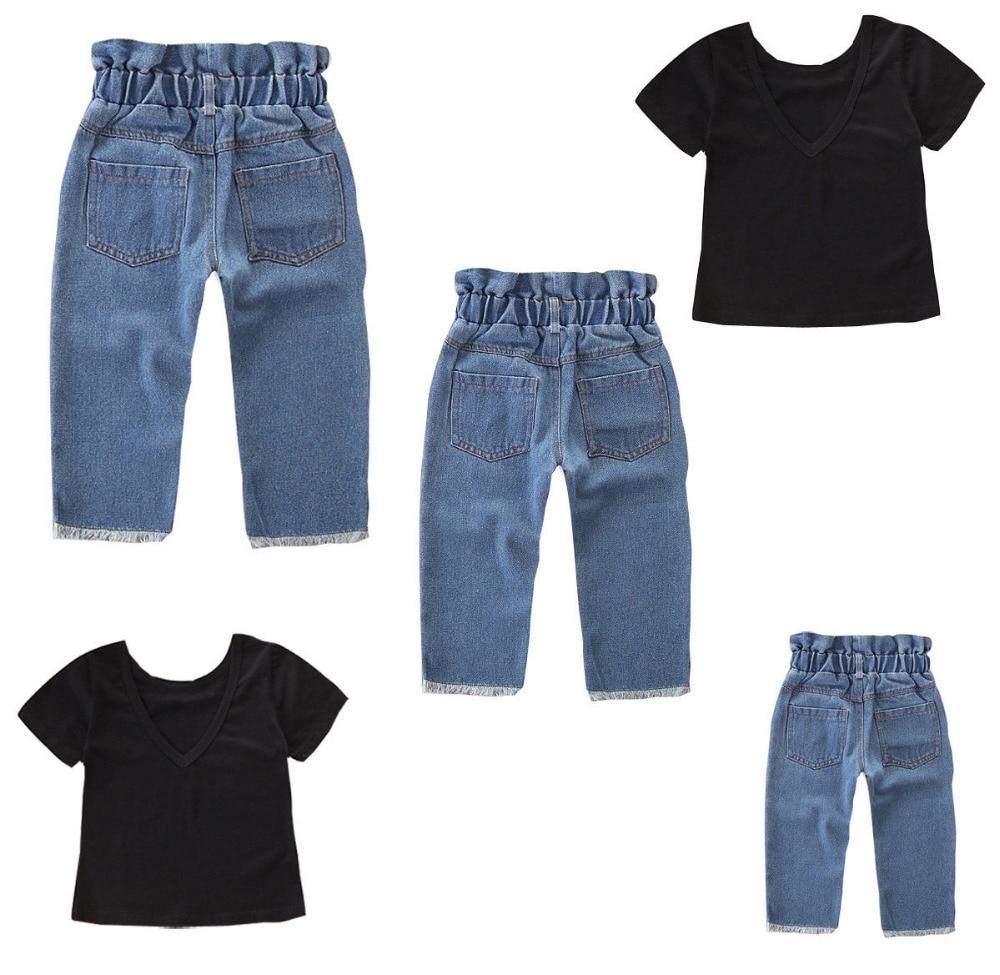 Caliente niños bebés niñas Tops sólidos 2019 nuevos pantalones de verano Pantalones vaqueros conjunto de ropa 2 piezas conjunto de ropa