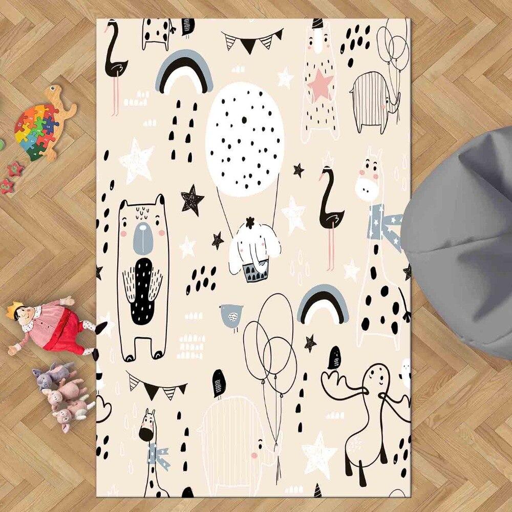 Piso Rosa blanco negro divertido animales niñas 3d impresión antideslizante microfibra sala de estar decorativa moderna alfombra lavable mat