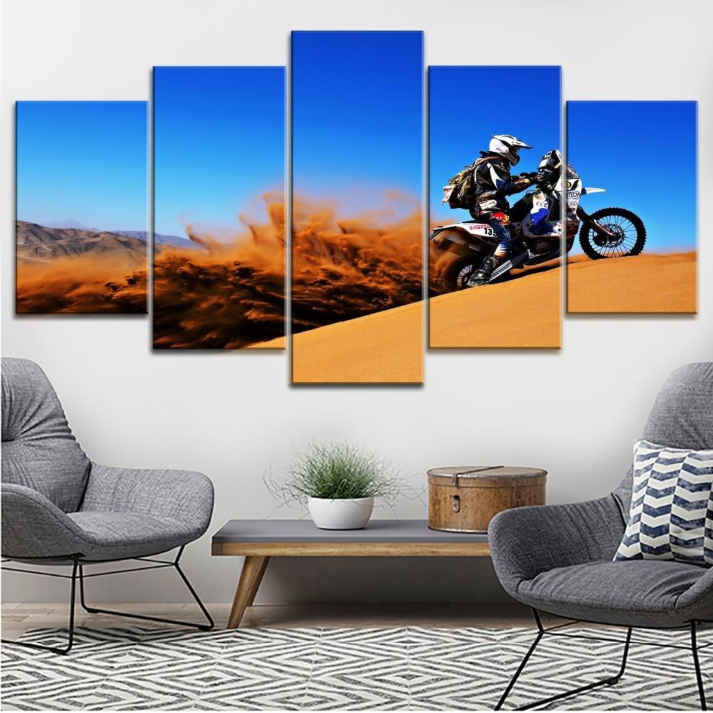 Lienzo impreso pintura arte de pared 5 piezas África Dakar Rally Desert Drift duna Motocross Race Picture para dormitorio decorativo moderno