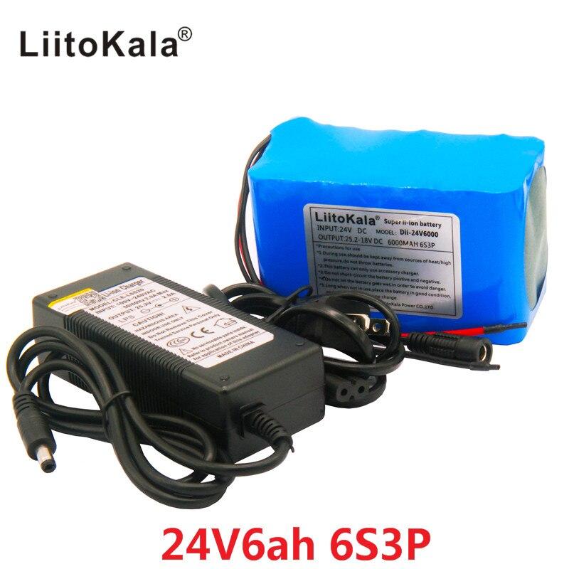 HK LiitoKala 24V 6Ah 6S3P Paquete de batería 25,2 V 18650 batería 6000mAh batería recargable para navegador GPS/ coche de Golf/bicicleta eléctrica