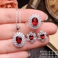 kjjeaxcmy boutique jewels 925 sterling silver inlaid natural gemstone garnet ladies ring necklace pendant earrings set support i