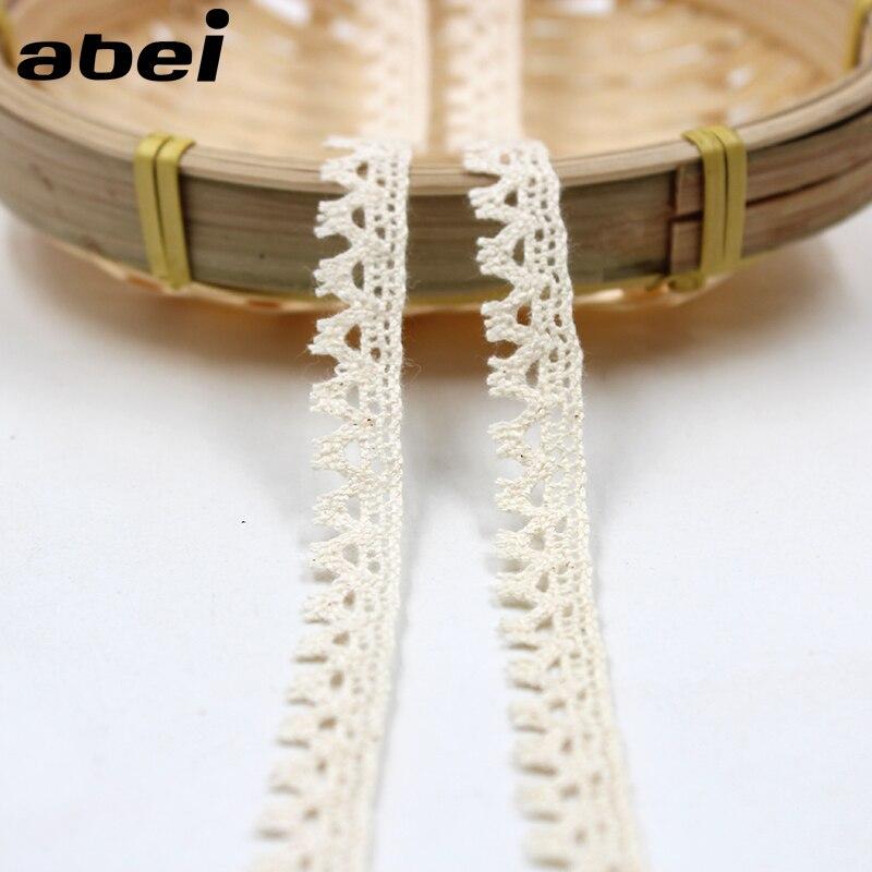 10 yardas/lote 1cm pestañas encaje adornos algodón Beige cinta Sastre costura adornos DIY parches ropa bolsas calcetines Accesorios