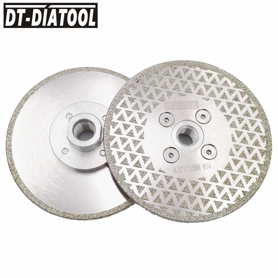 DT-DIATOOL, 2 uds., Diameter115mm, hoja de sierra de muela Disco de corte de diamante galvanizada, rosca M14 de 4,5 pulgadas, mampostería de hormigón