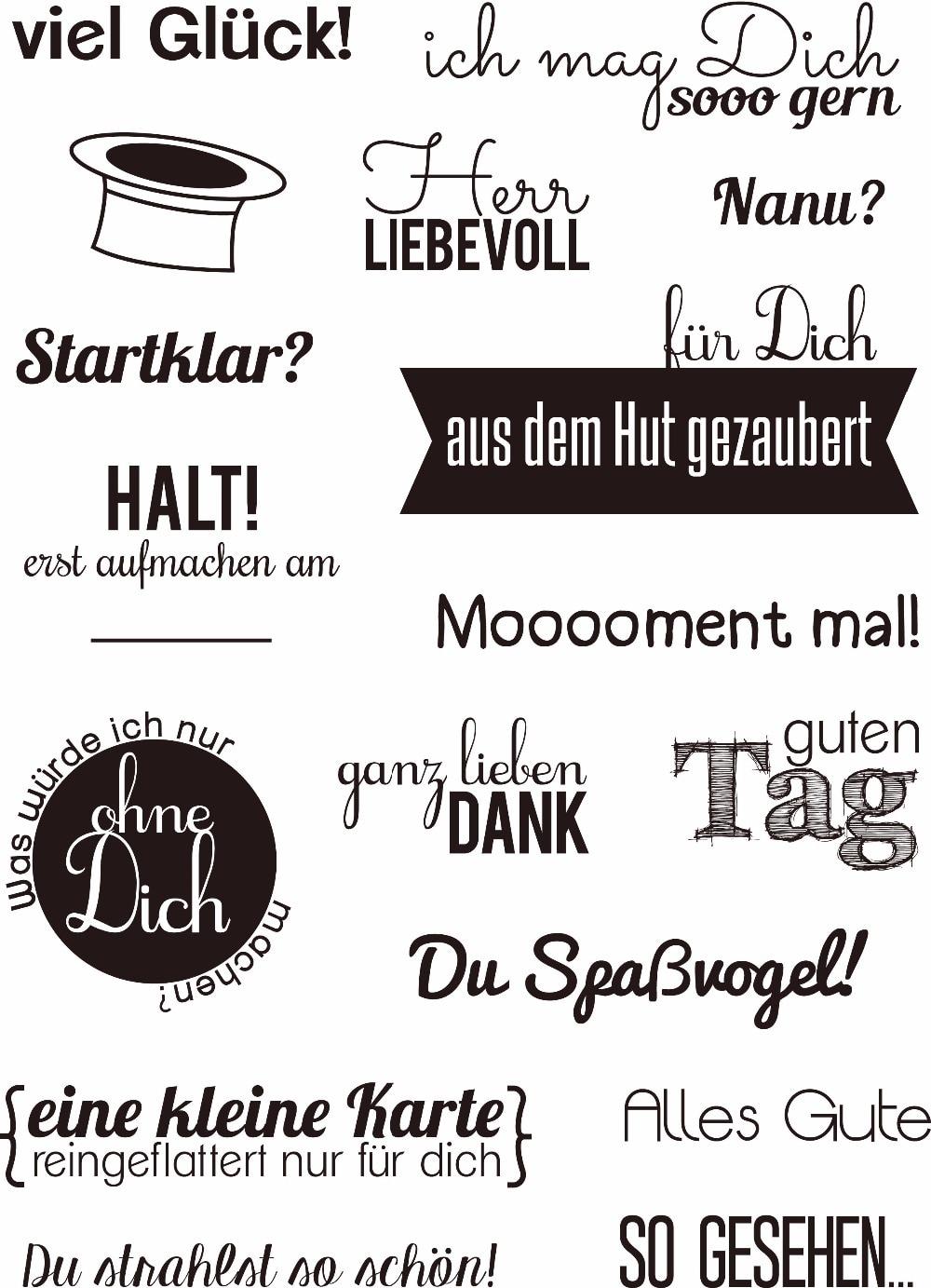 Deutsch wort Transparent Klar Silikon Stempel/Dichtung für DIY scrapbooking/fotoalbum Dekorative klare stempel A142
