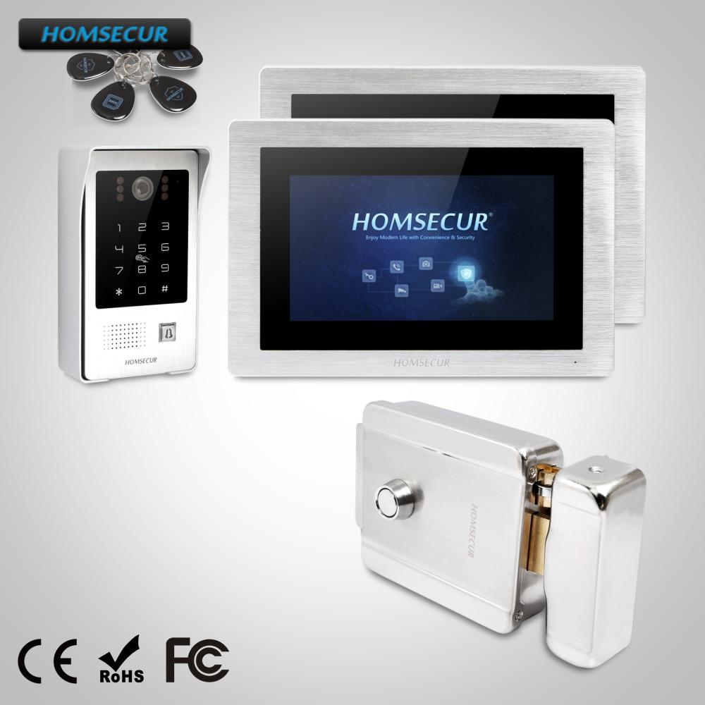 "HOMSECUR 7"" Video&Audio Smart Doorbell Door Intercom with Memory Monitor & Electric Lock+Keys Included  BC091 +BM714-S"