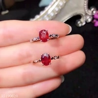 kjjeaxcmy fine jewelry 925 sterling silver inlaid natural ruby female ring support test