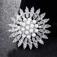 donia jewelry shiny flower brooch fayx pearl botanical dress accessories lady brooch turban pin gift banquet wedding