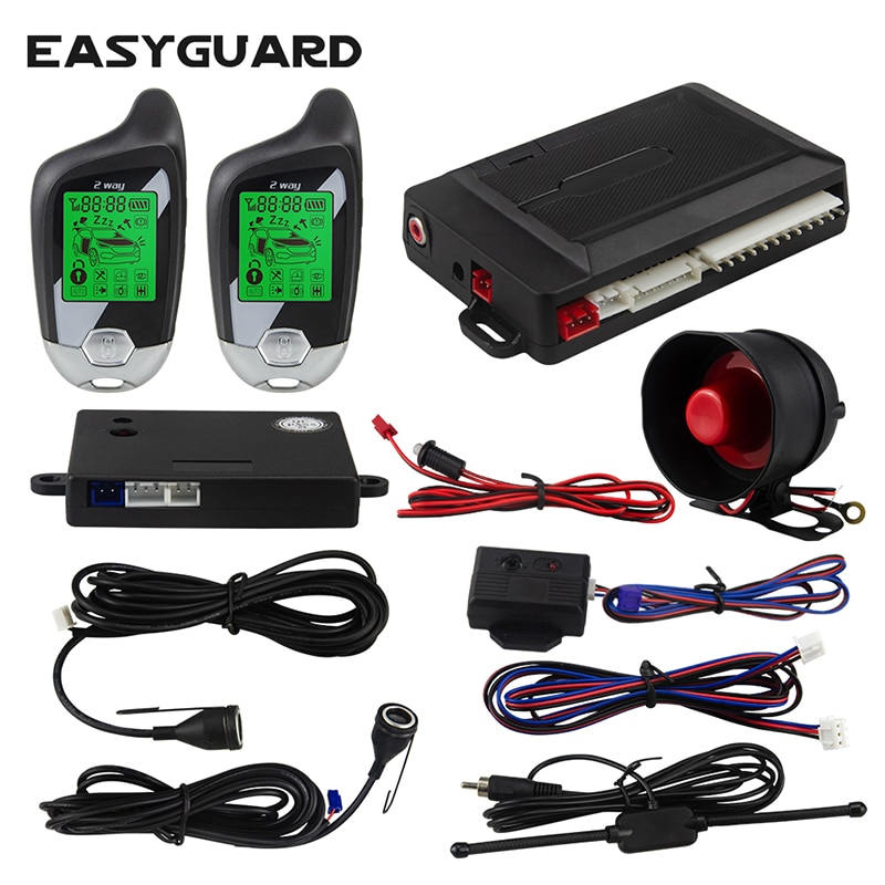 EASYGUARD 2 طريقة بالموجات فوق الصوتية/صدمة الاستشعار إنذار للسيارة نظام النداء LCD عرض السيارات قفل إفتح إنذار العالمي الاهتزاز إنذار