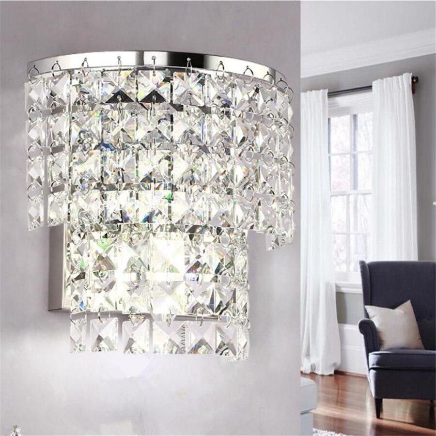 Apliques de pared de cristal modernos, lámparas led para dormitorio, sala de estar, baño, lámparas de pared del armario de lujo E14 AC 110-260V, luz de pared