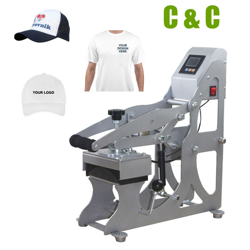 2IN1 Semi auto T-shirt and Cap Heat Press Printing Machine Flat heat transfer size 12x12cm NO.AH1701