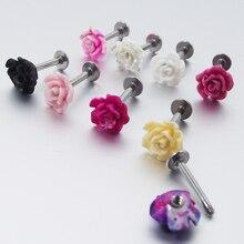 1 pièce 16G 1.2mm acier inoxydable Labret anneaux Rose fleur Tragus boucle doreille lèvre anneau boucles doreilles corps Piercing bijoux