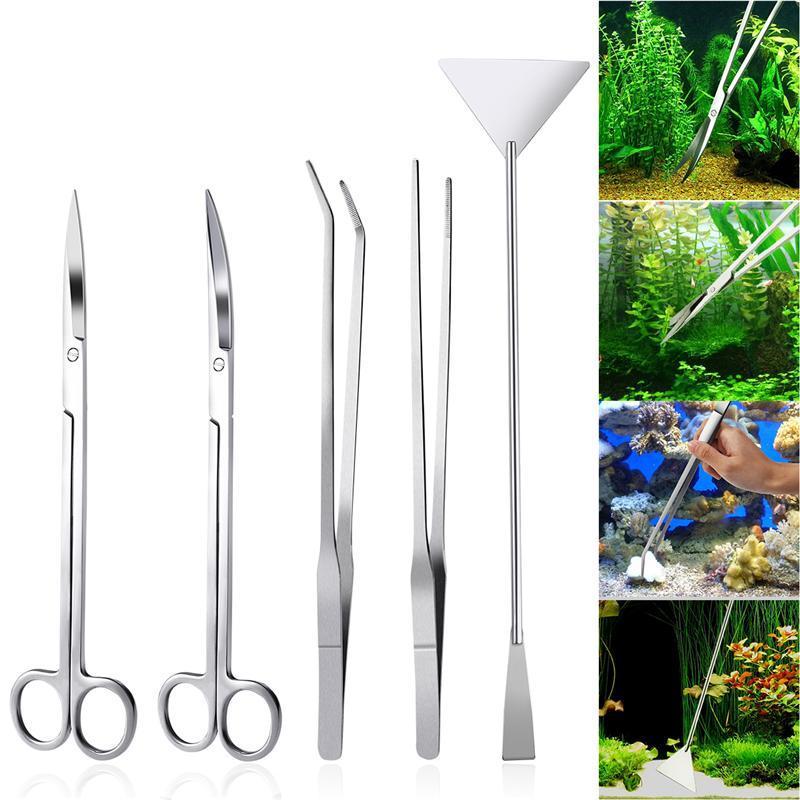5 En 1 Kit de Aquascaping de acuario de acero inoxidable, tanque de Acuario, juego de herramientas de plantas acuáticas, pinzas, espátula de tijera