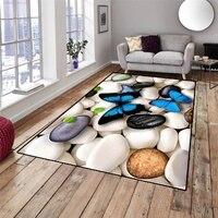 Else Blue Butterfly on Pebble Stones Gray White 3d Print Non Slip Microfiber Living Room Decorative Modern Washable Area Rug Mat