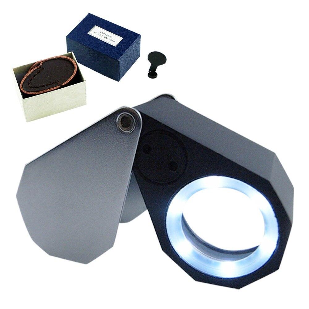 Lupa dobrável da lupa do joalheiro da lente ótica da ampliação 10x + 6 do diodo emissor de luz, lente de 21mm