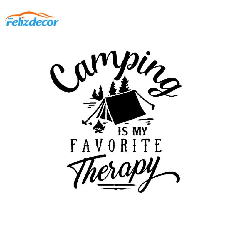Camping es mi terapia favorita pegatina con cita vinilo divertido coche pegatinas árboles al aire libre naturaleza coche calcomanías Car styling decor L419
