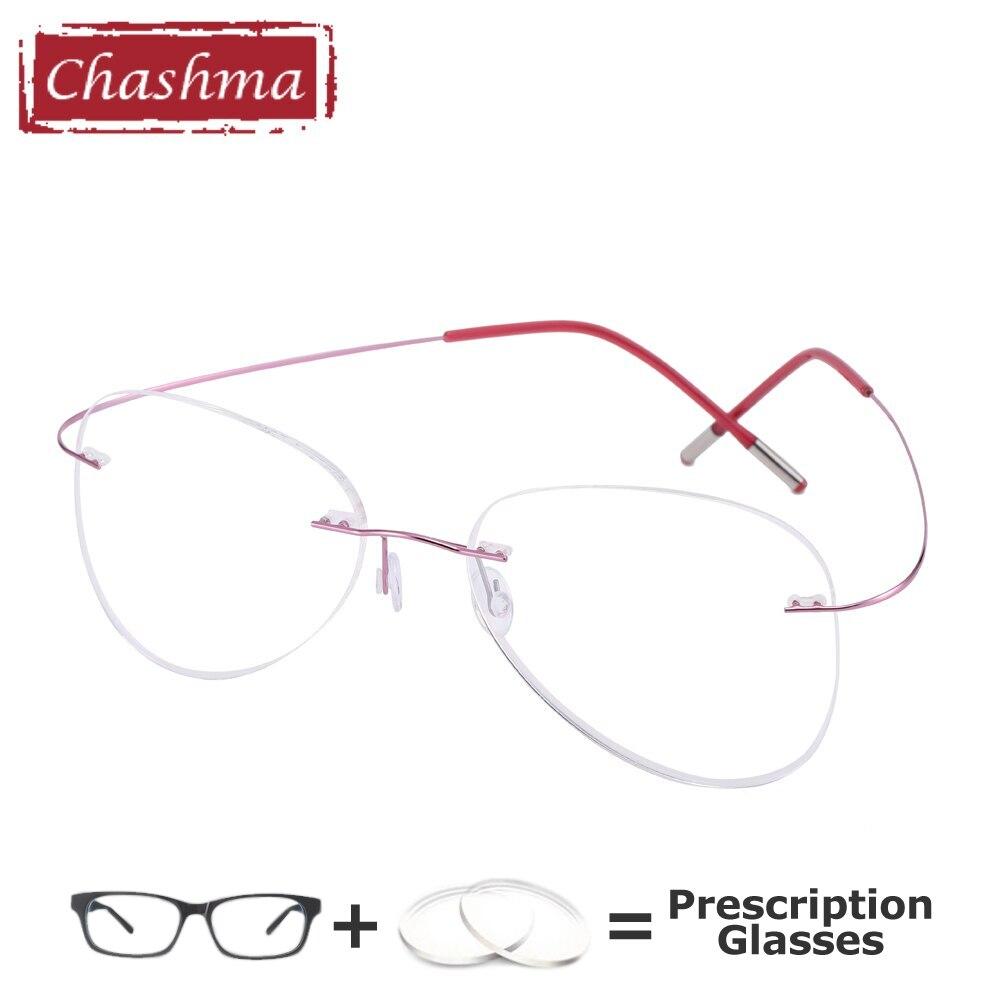 نظارات طبية من التيتانيوم للرجال والنساء ، عدسات احترافية كبيرة الحجم لقصر النظر ، بدون إطار ، مضادة للأشعة الزرقاء ، نظارات كمبيوتر