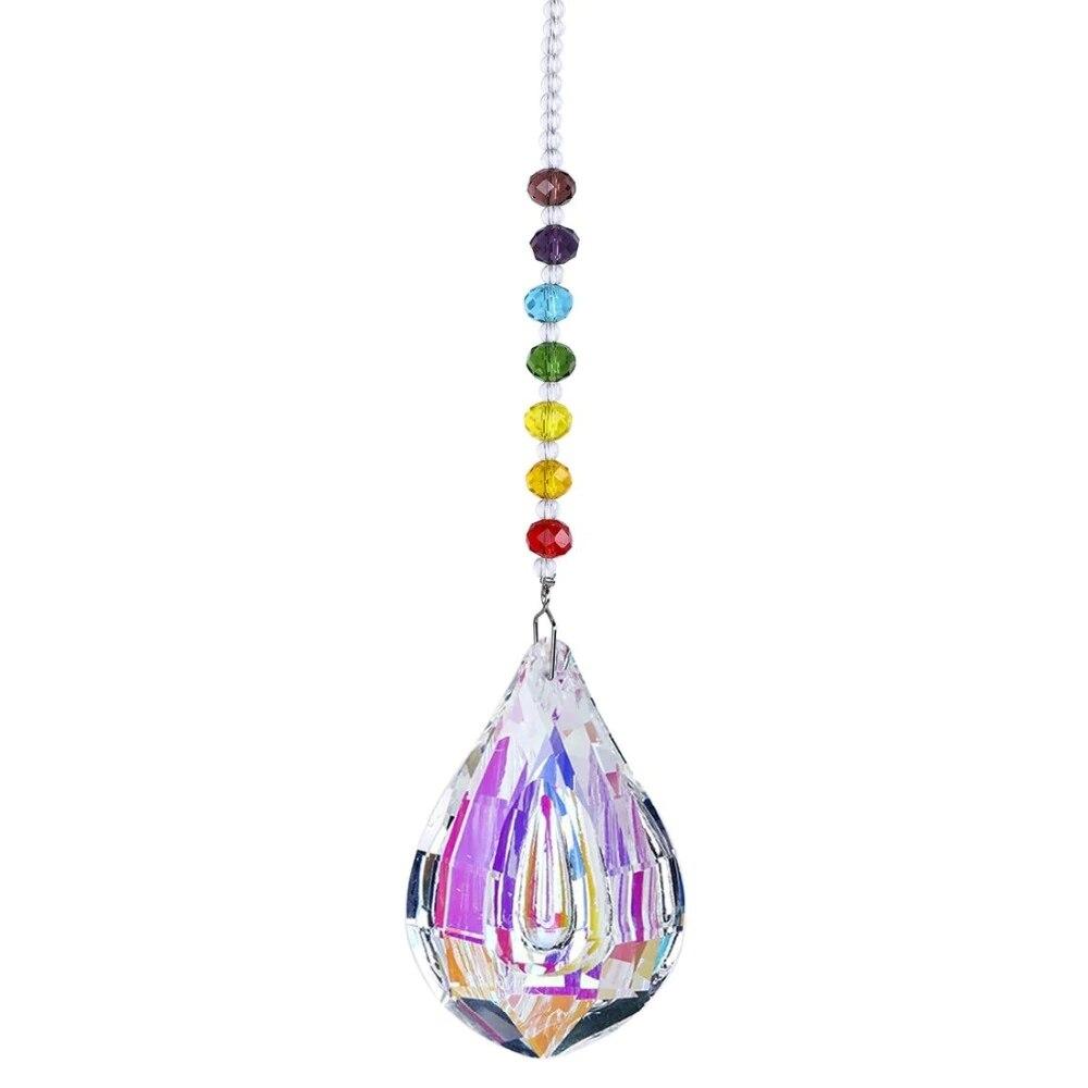 H & d rainbow maker sun catcher feng shui suncatcher de cristal para janela com 76mm grande lustre de cristal prisma gotas decoração da sua casa