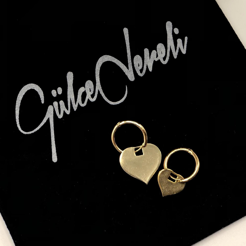 GULCE DERELI ، القلب أقراط ، أقراط هوب ، أقراط مُزينة بحُلي ، هدية مربع ، الذهب/الفضة مطلي